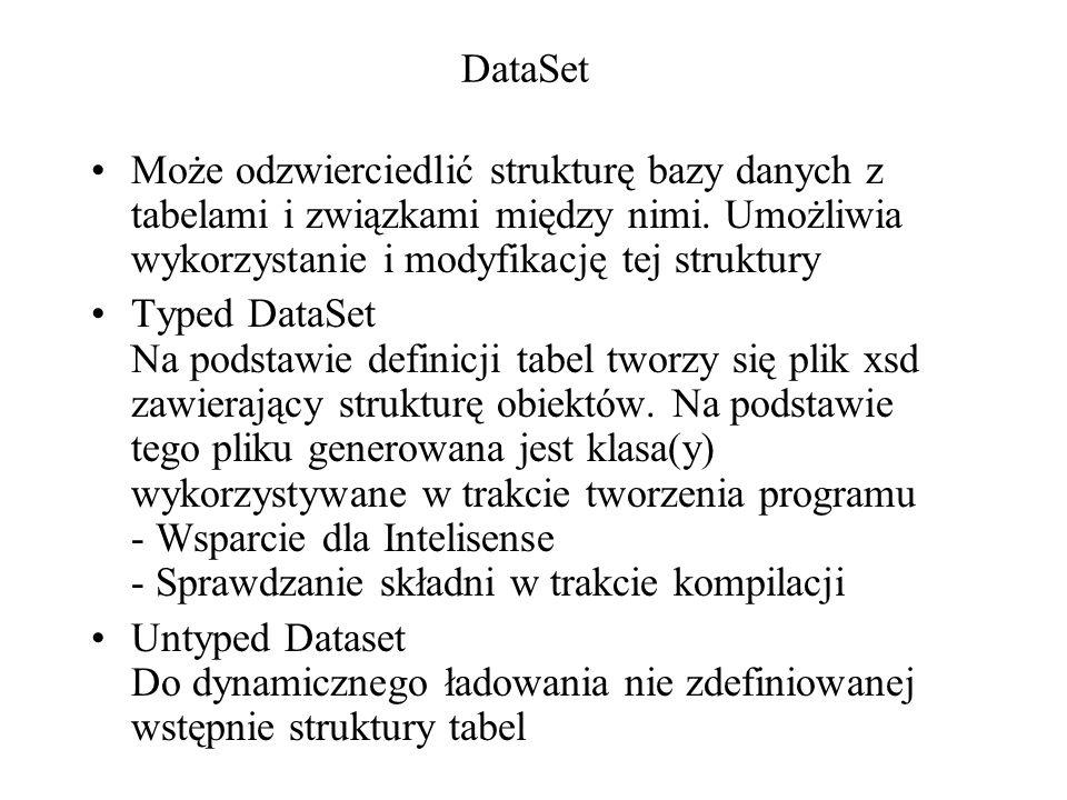 DataSet Może odzwierciedlić strukturę bazy danych z tabelami i związkami między nimi. Umożliwia wykorzystanie i modyfikację tej struktury.