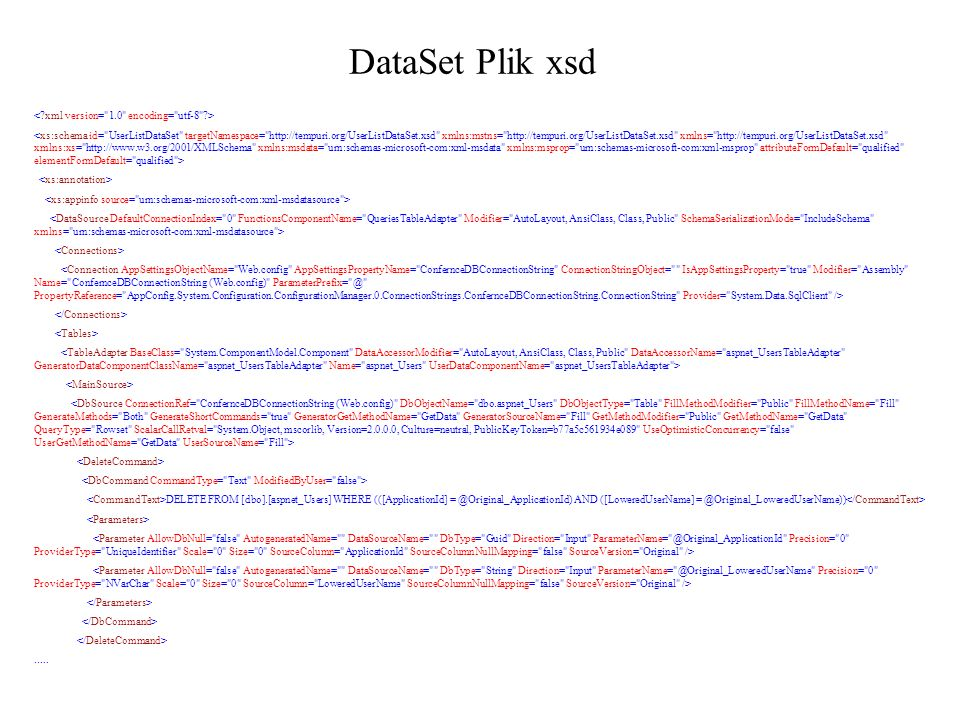 DataSet Plik xsd < xml version= 1.0 encoding= utf-8 >