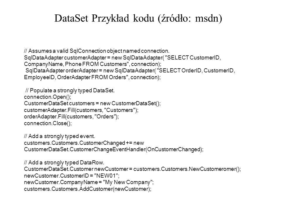 DataSet Przykład kodu (źródło: msdn)