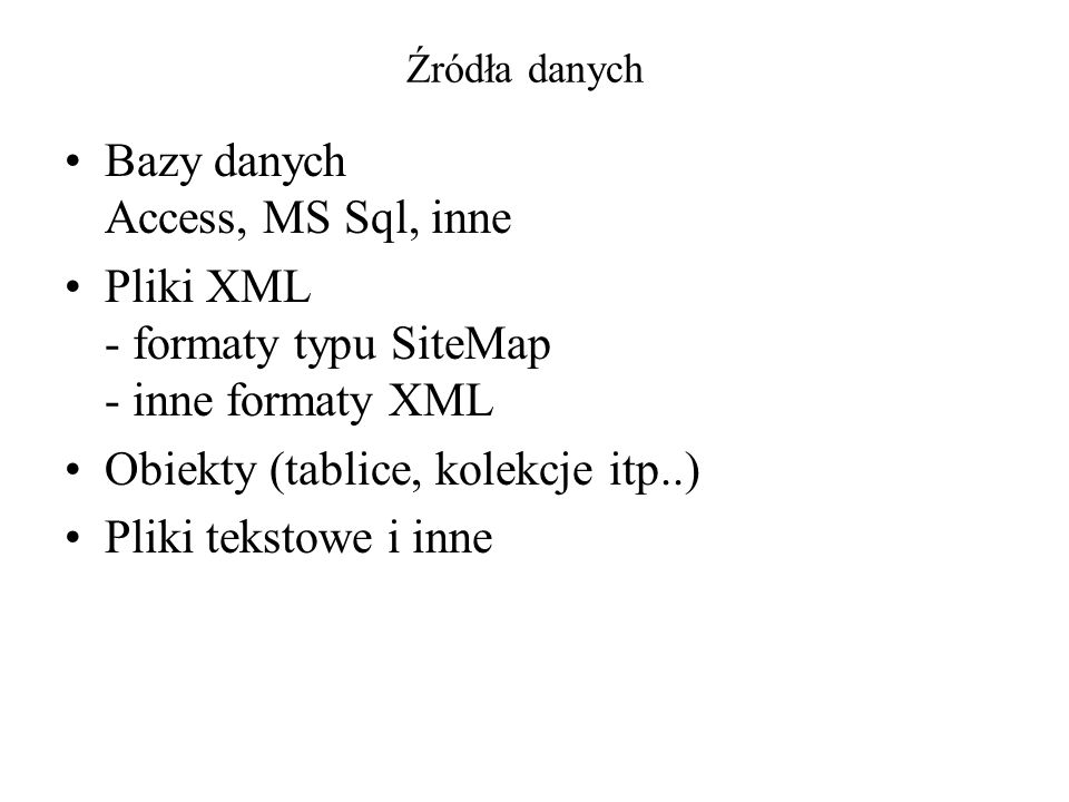 Bazy danych Access, MS Sql, inne