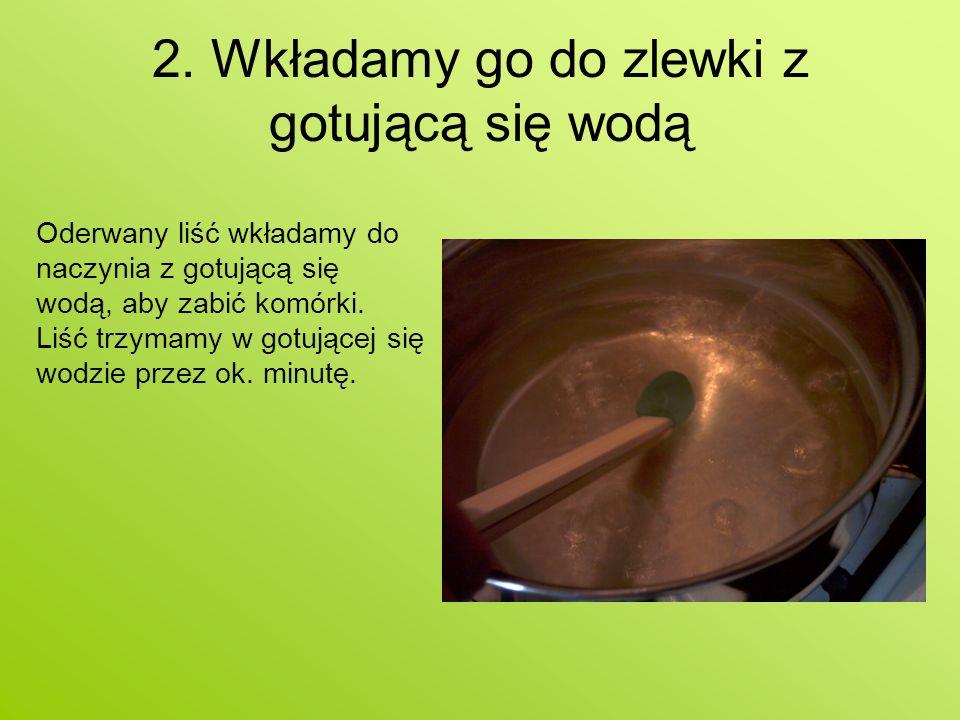 2. Wkładamy go do zlewki z gotującą się wodą