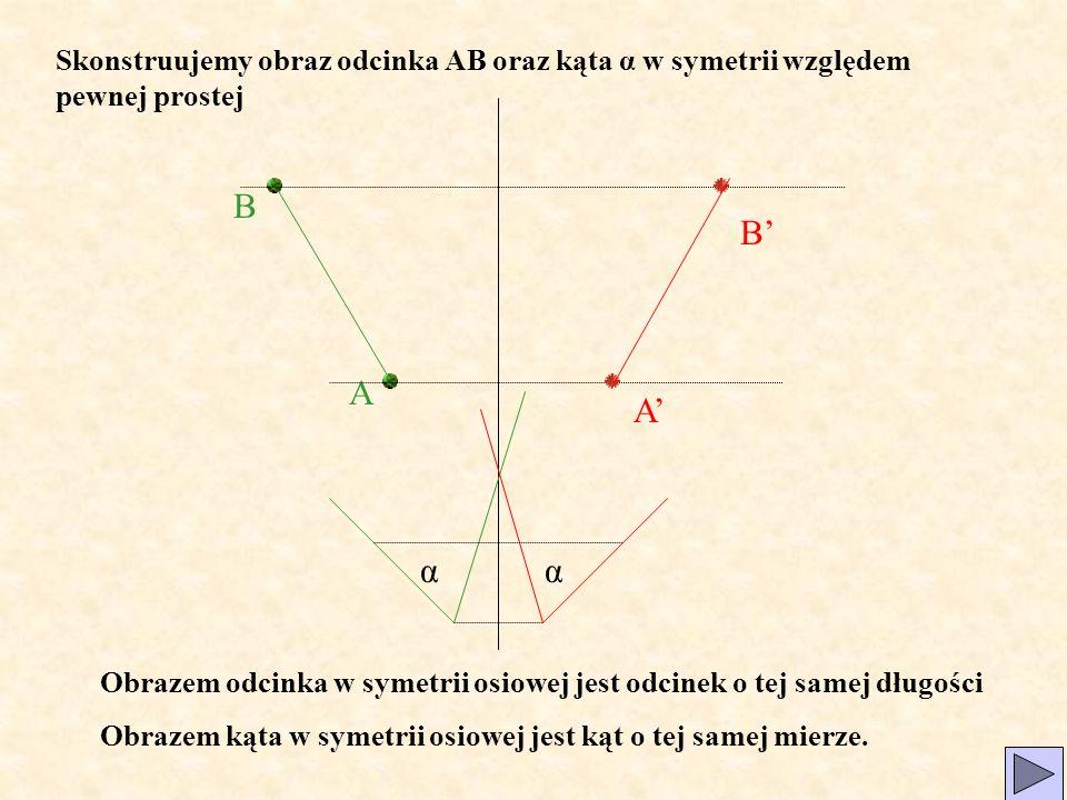 Skonstruujemy obraz odcinka AB oraz kąta α w symetrii względem pewnej prostej