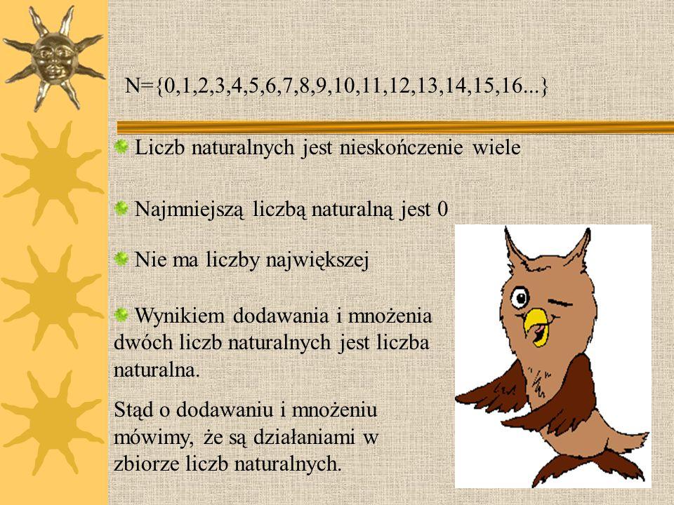 N={0,1,2,3,4,5,6,7,8,9,10,11,12,13,14,15,16...}Liczb naturalnych jest nieskończenie wiele. Najmniejszą liczbą naturalną jest 0.