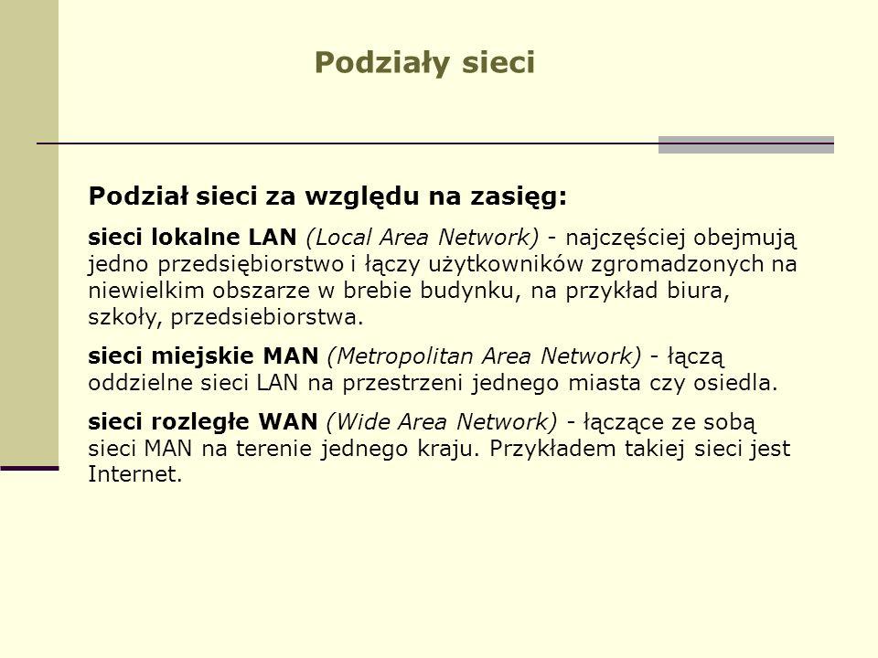 Podziały sieci Podział sieci za względu na zasięg: