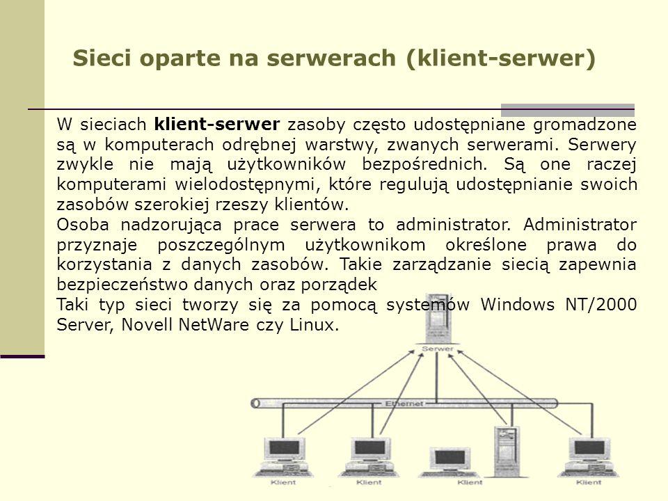 Sieci oparte na serwerach (klient-serwer)