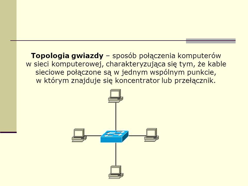 Topologia gwiazdy – sposób połączenia komputerów w sieci komputerowej, charakteryzująca się tym, że kable sieciowe połączone są w jednym wspólnym punkcie, w którym znajduje się koncentrator lub przełącznik.