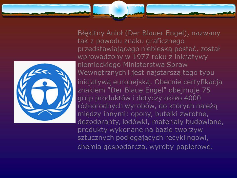 Błękitny Anioł (Der Blauer Engel), nazwany tak z powodu znaku graficznego przedstawiającego niebieską postać, został wprowadzony w 1977 roku z inicjatywy niemieckiego Ministerstwa Spraw Wewnętrznych i jest najstarszą tego typu inicjatywą europejską.