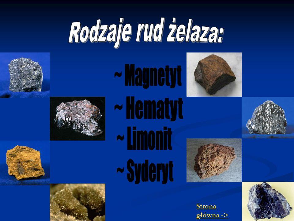 Rodzaje rud żelaza: ~ Magnetyt ~ Hematyt ~ Limonit ~ Syderyt Strona