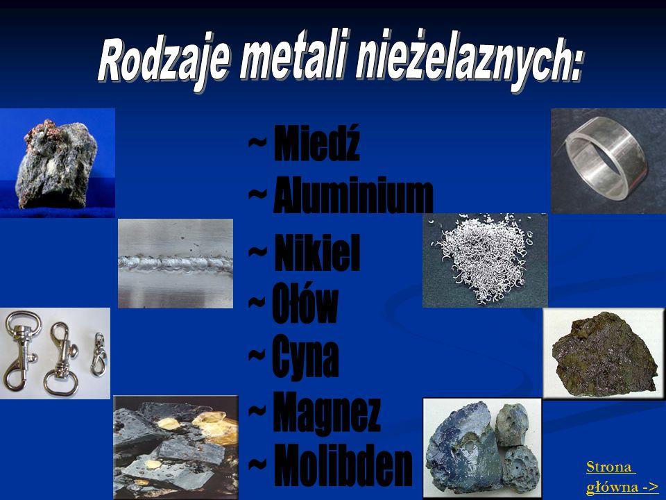 Rodzaje metali nieżelaznych: