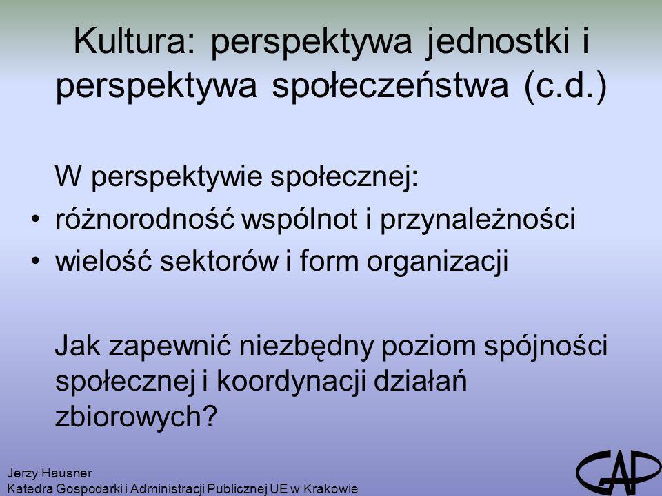 Kultura: perspektywa jednostki i perspektywa społeczeństwa (c.d.)