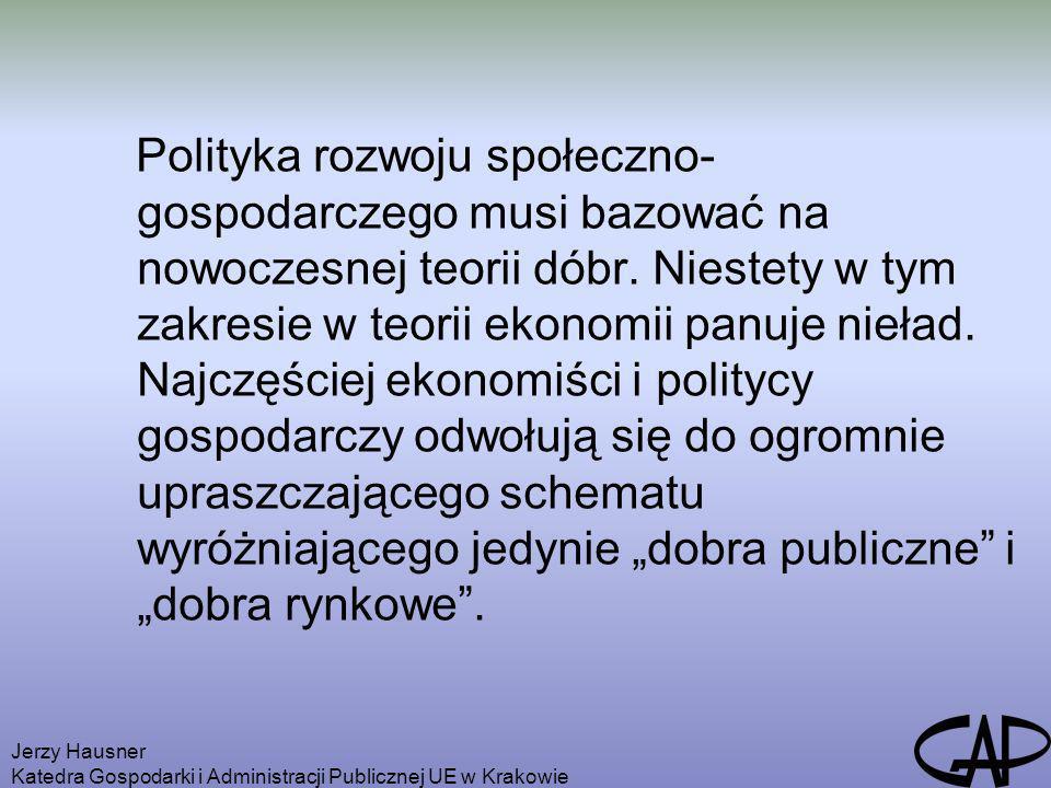 """Polityka rozwoju społeczno-gospodarczego musi bazować na nowoczesnej teorii dóbr. Niestety w tym zakresie w teorii ekonomii panuje nieład. Najczęściej ekonomiści i politycy gospodarczy odwołują się do ogromnie upraszczającego schematu wyróżniającego jedynie """"dobra publiczne i """"dobra rynkowe ."""