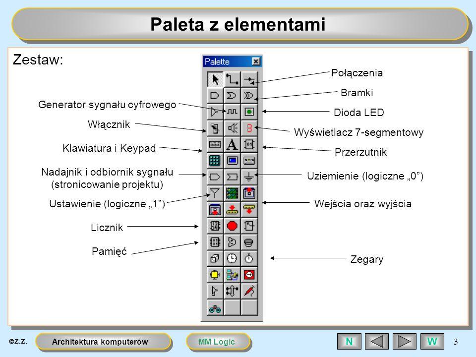 Paleta z elementami Zestaw: Połączenia Bramki