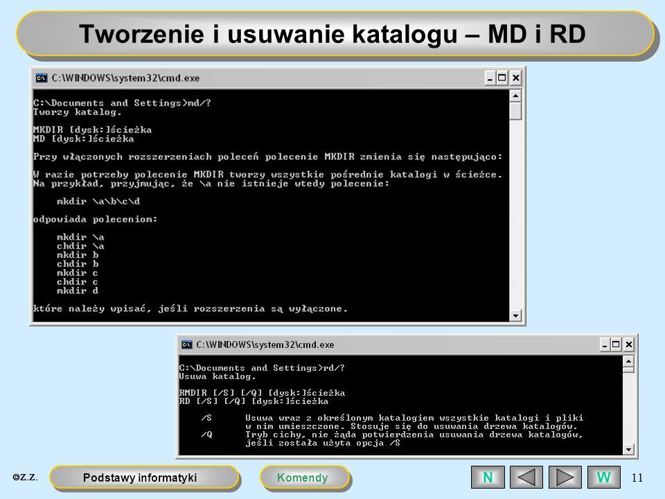Tworzenie i usuwanie katalogu – MD i RD