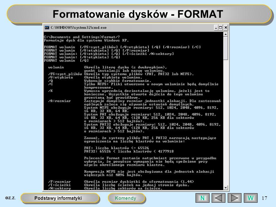 Formatowanie dysków - FORMAT
