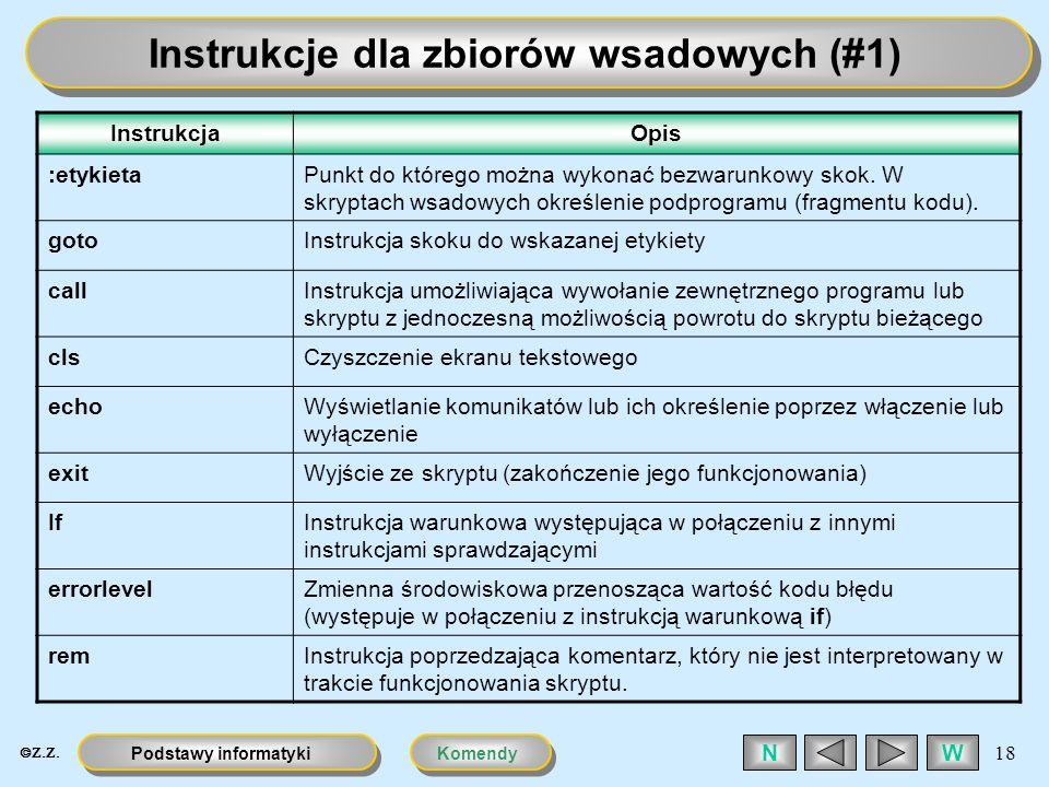 Instrukcje dla zbiorów wsadowych (#1)