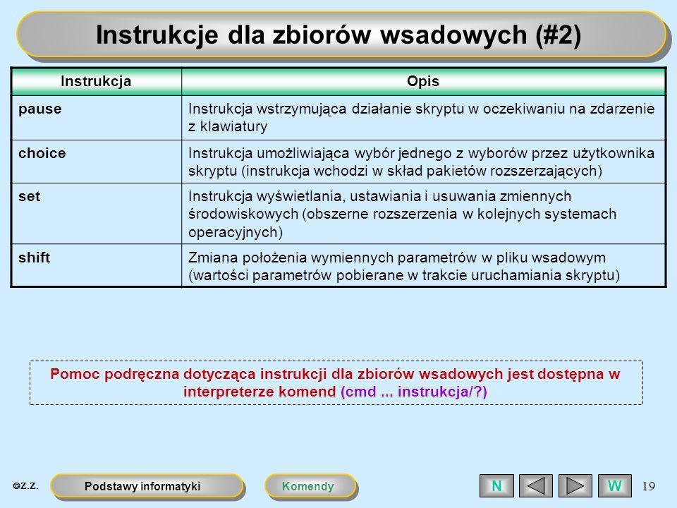 Instrukcje dla zbiorów wsadowych (#2)
