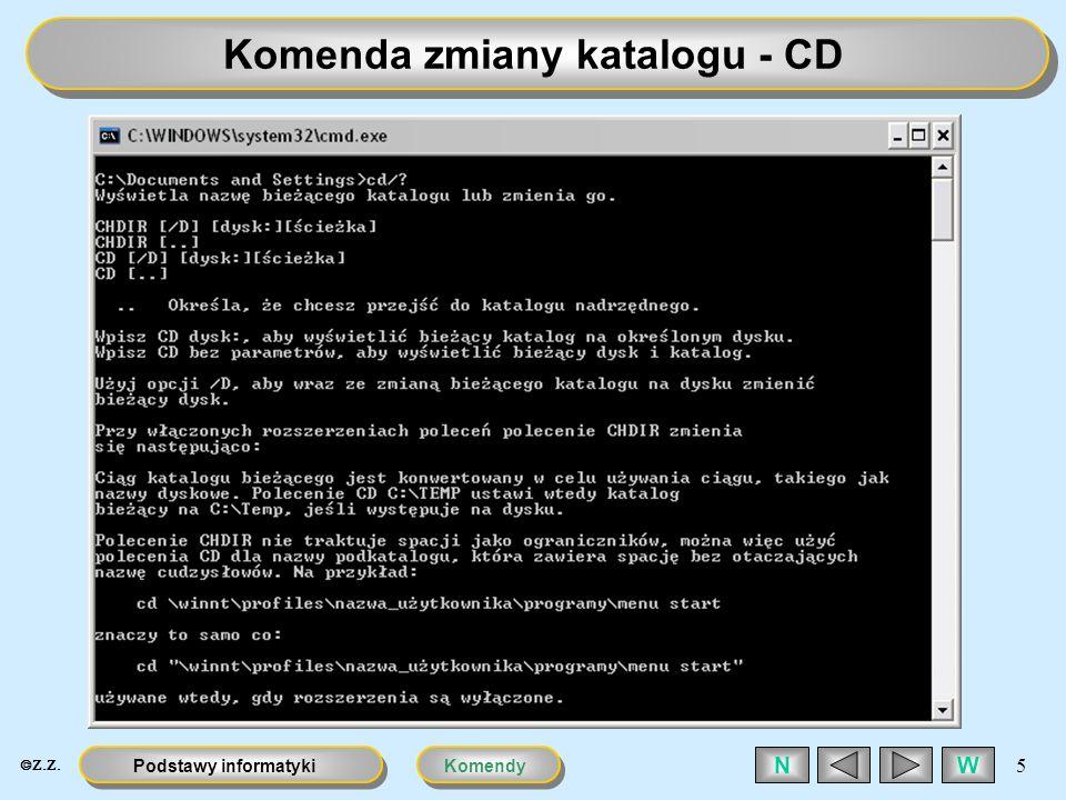 Komenda zmiany katalogu - CD