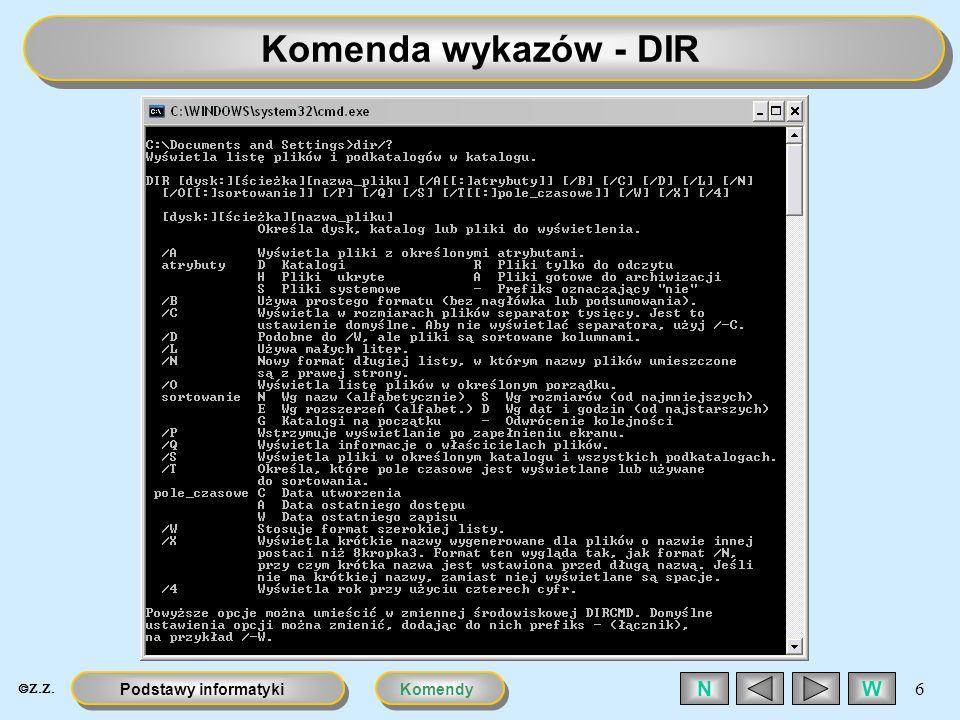 Komenda wykazów - DIR