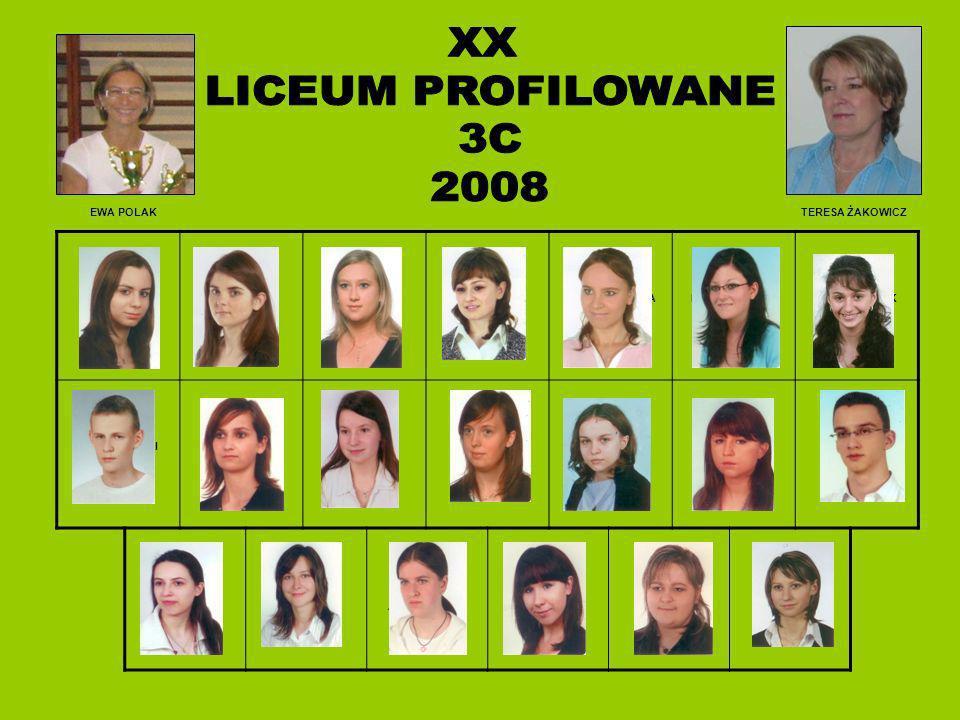 XX LICEUM PROFILOWANE 3C 2008 EWA POLAK TERESA ŻAKOWICZ CZAPLIŃSKA