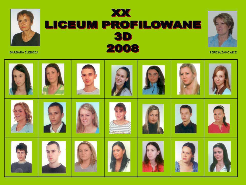 XX LICEUM PROFILOWANE 3D 2008 BARBARA ŚLEBODA TERESA ŻAKOWICZ BAŁOS