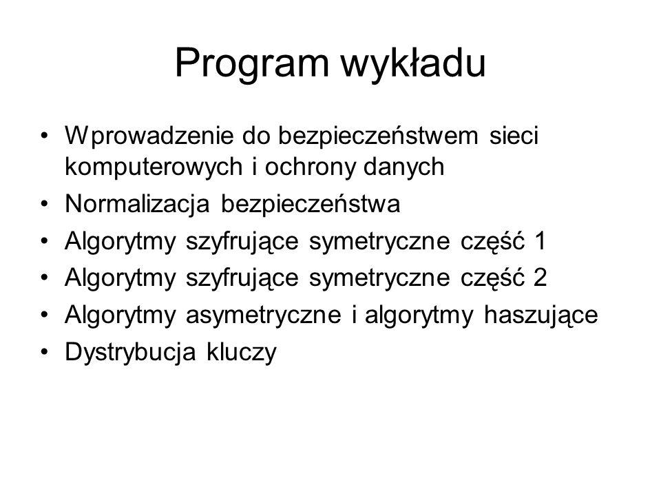 Program wykładu Wprowadzenie do bezpieczeństwem sieci komputerowych i ochrony danych. Normalizacja bezpieczeństwa.