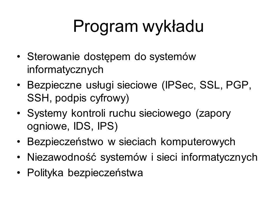 Program wykładu Sterowanie dostępem do systemów informatycznych