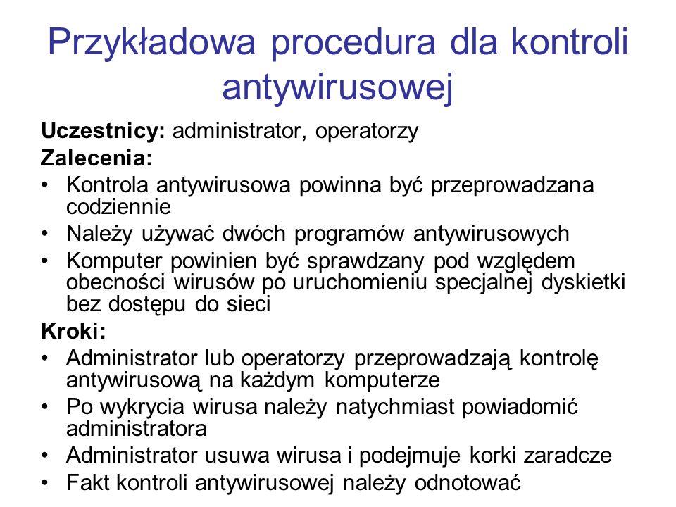 Przykładowa procedura dla kontroli antywirusowej