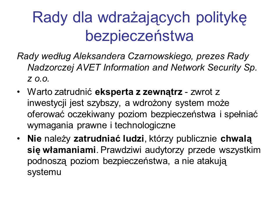 Rady dla wdrażających politykę bezpieczeństwa