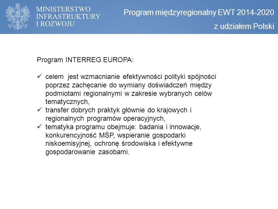 Program międzyregionalny EWT 2014-2020 z udziałem Polski