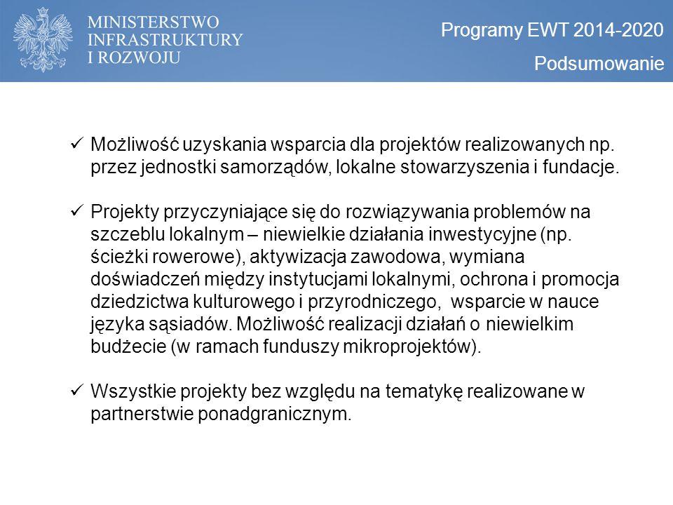 Programy EWT 2014-2020 Podsumowanie.