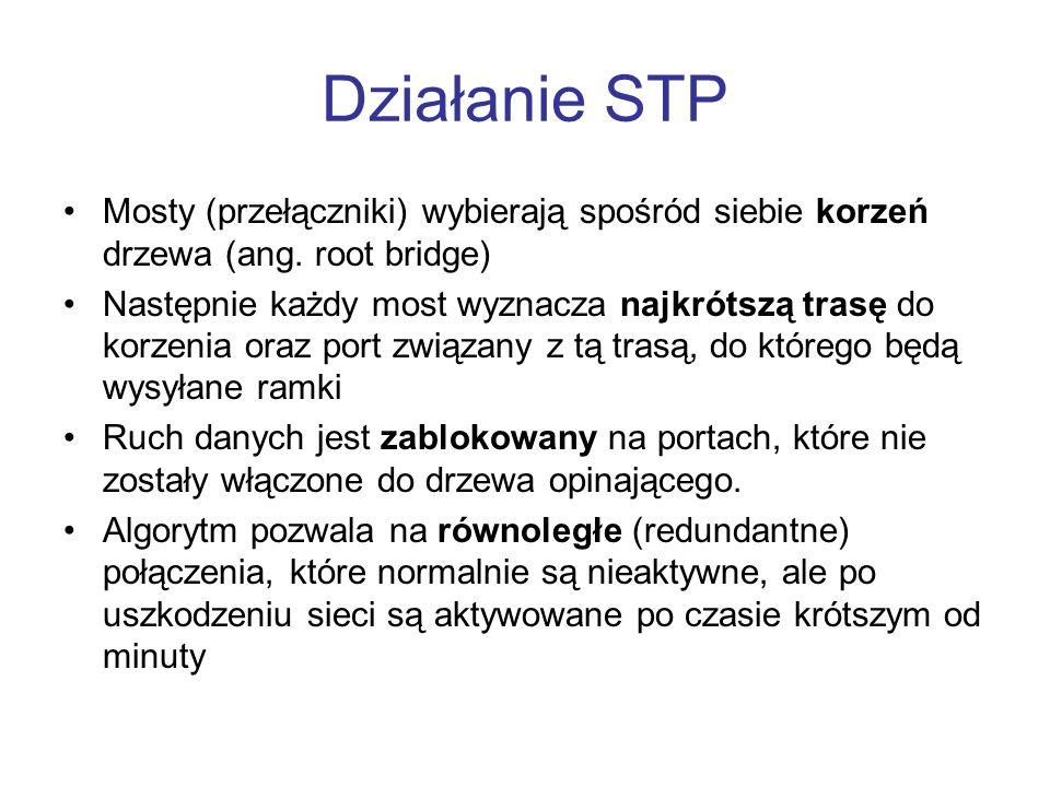 Działanie STP Mosty (przełączniki) wybierają spośród siebie korzeń drzewa (ang. root bridge)
