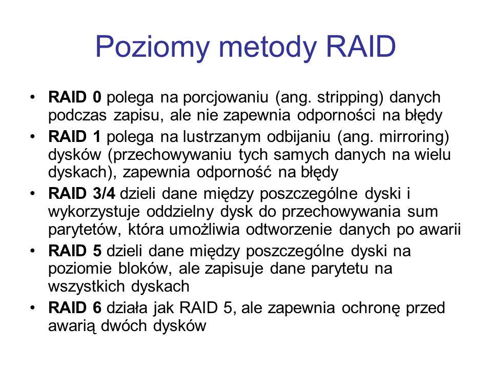 Poziomy metody RAID RAID 0 polega na porcjowaniu (ang. stripping) danych podczas zapisu, ale nie zapewnia odporności na błędy.