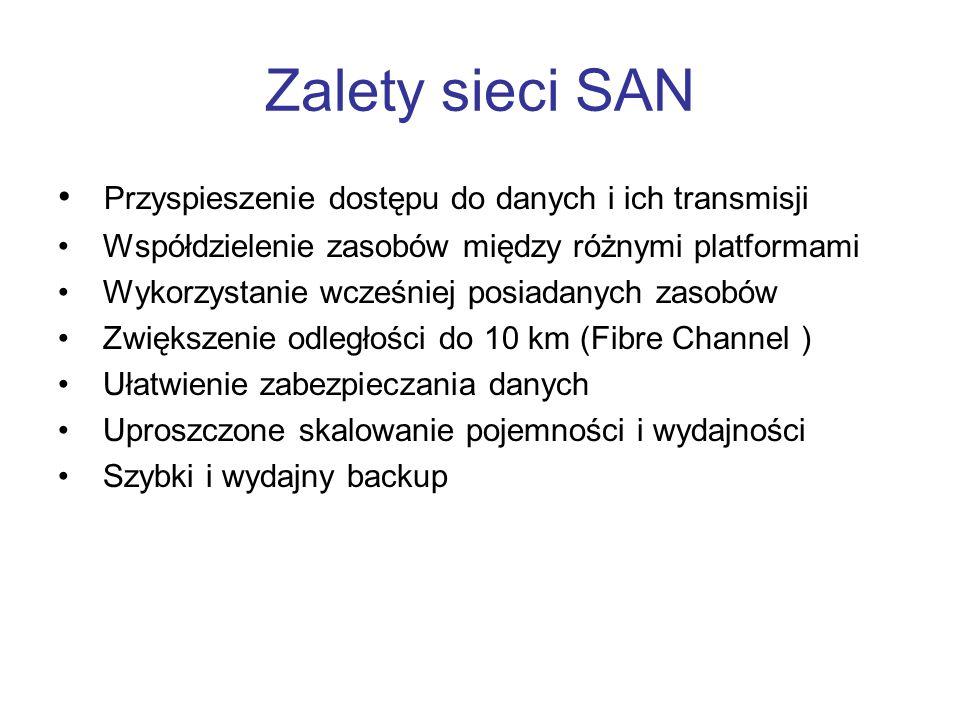Zalety sieci SAN Przyspieszenie dostępu do danych i ich transmisji