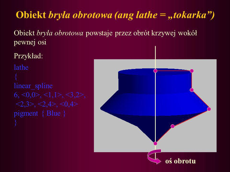 "Obiekt bryła obrotowa (ang lathe = ""tokarka )"