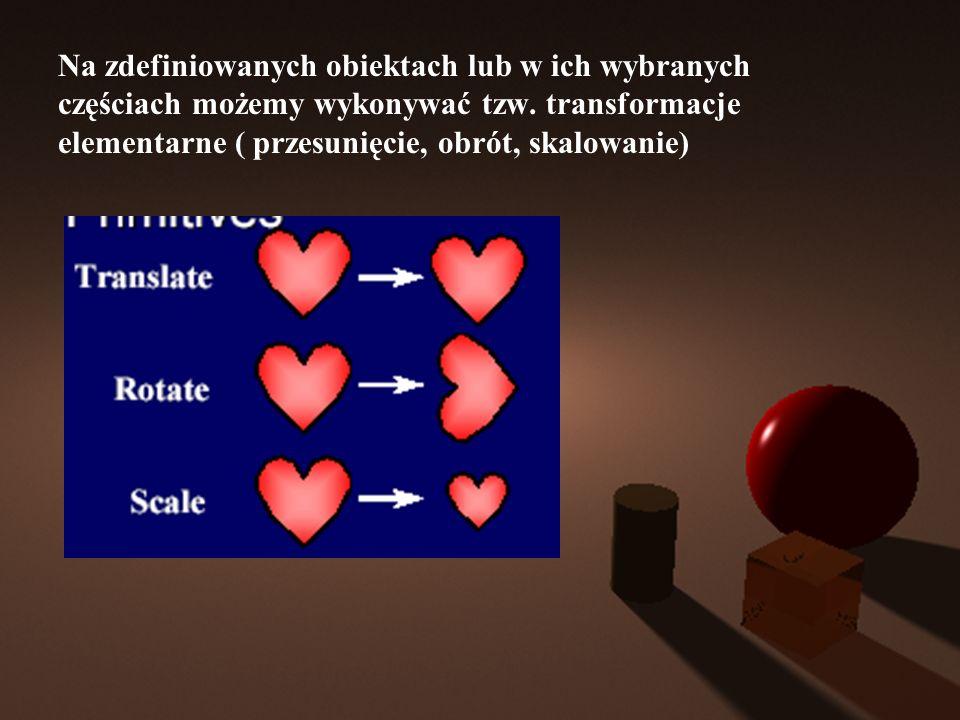 Na zdefiniowanych obiektach lub w ich wybranych częściach możemy wykonywać tzw.