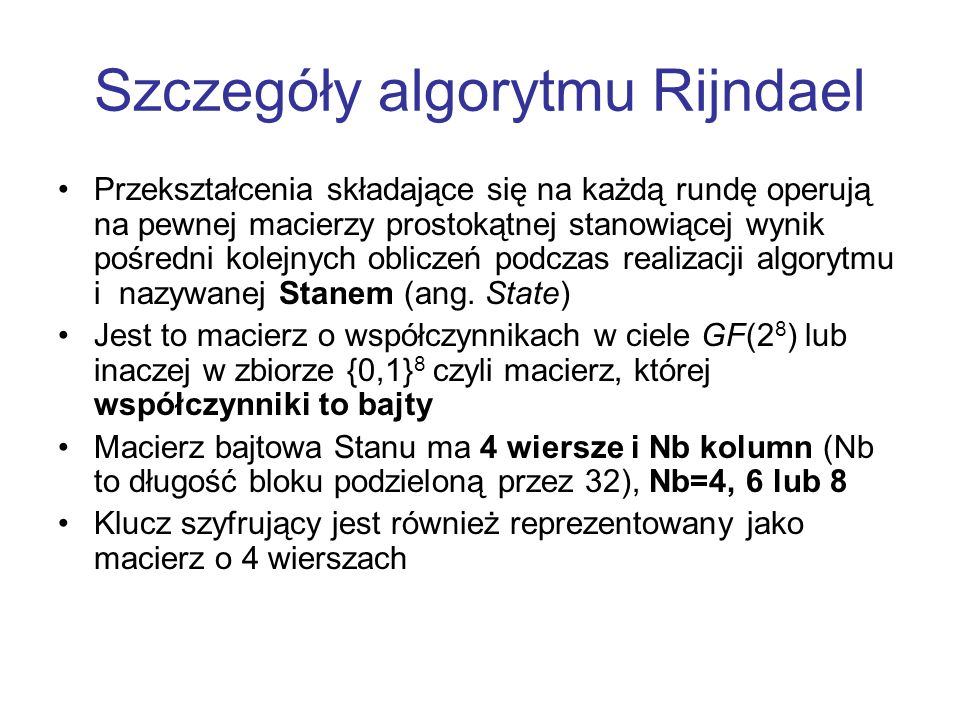 Szczegóły algorytmu Rijndael
