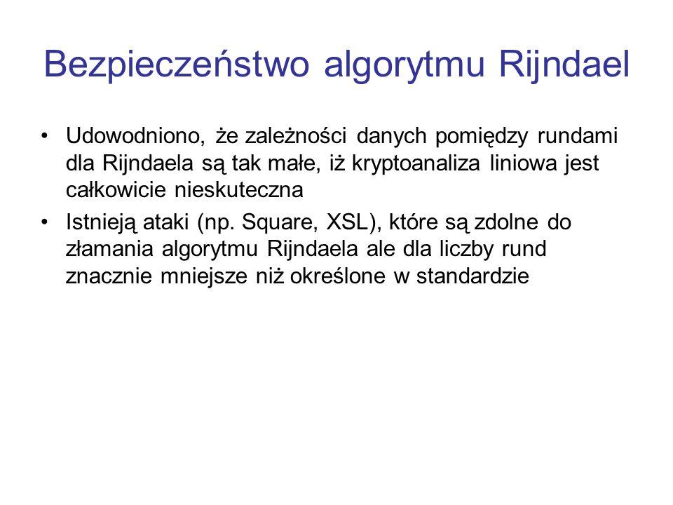 Bezpieczeństwo algorytmu Rijndael