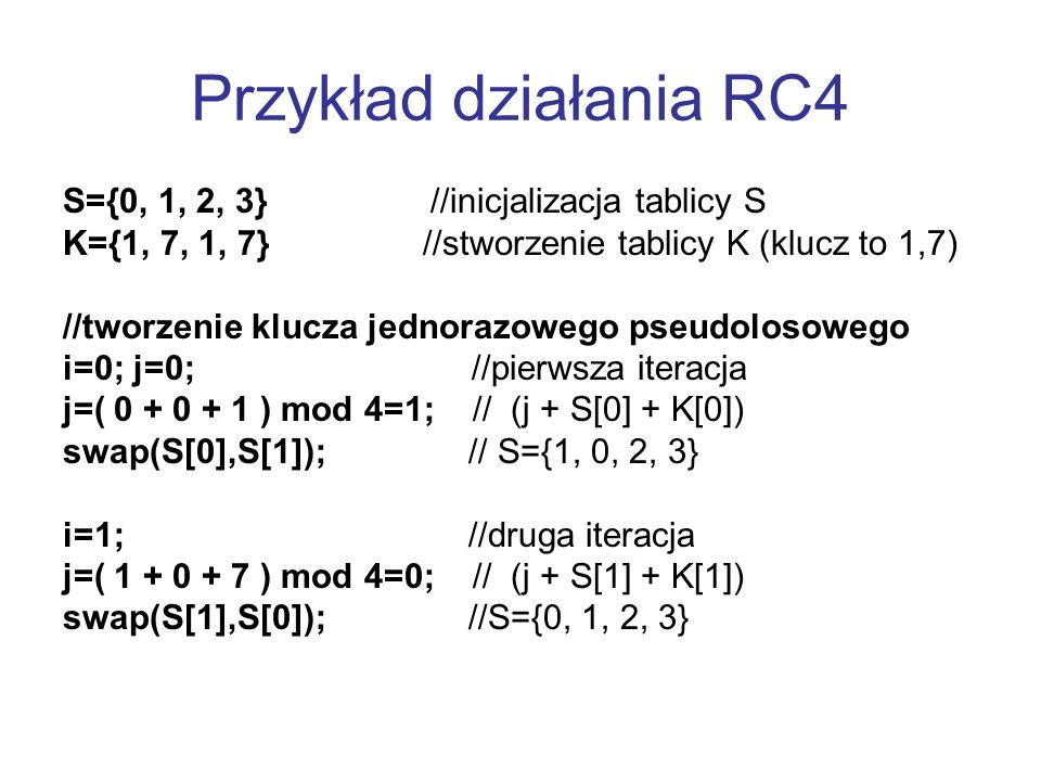 Przykład działania RC4 S={0, 1, 2, 3} //inicjalizacja tablicy S