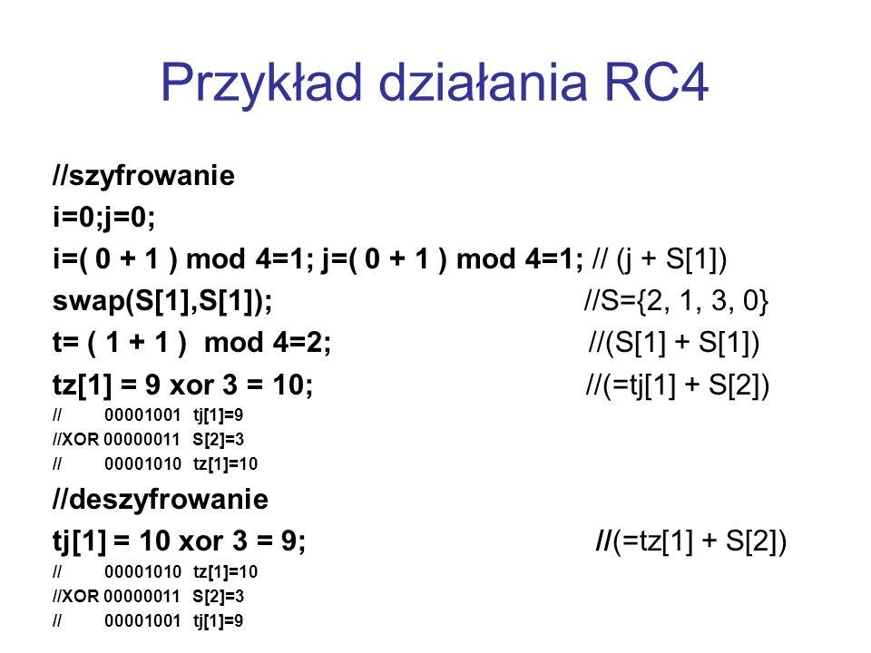 Przykład działania RC4 //szyfrowanie i=0;j=0;