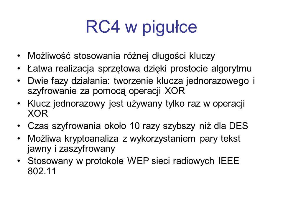 RC4 w pigułce Możliwość stosowania różnej długości kluczy