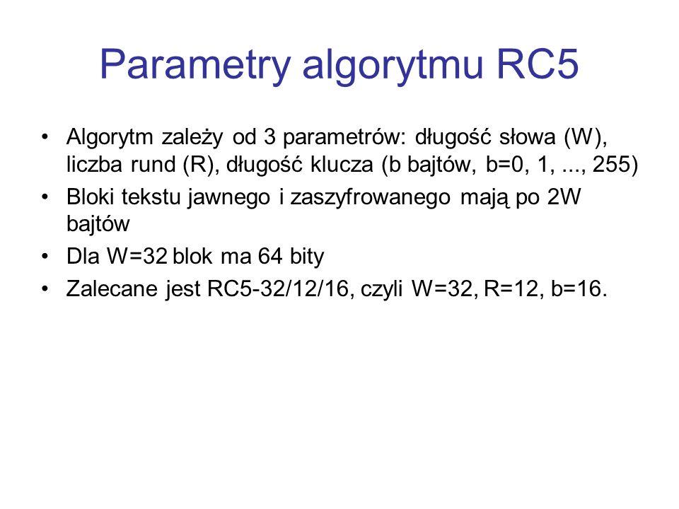 Parametry algorytmu RC5