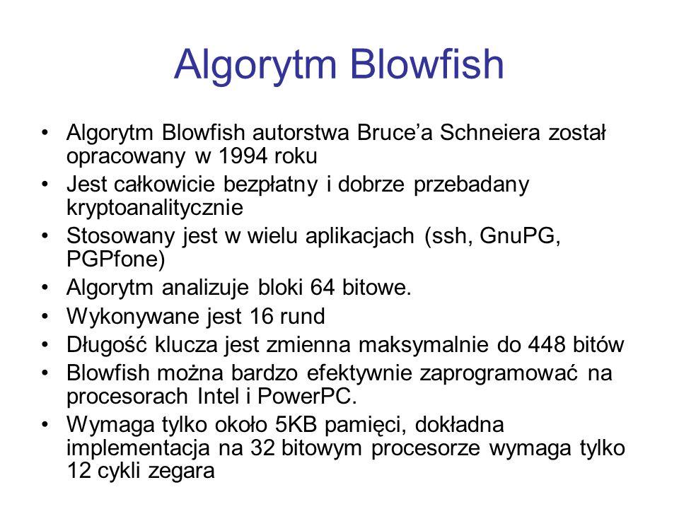 Algorytm Blowfish Algorytm Blowfish autorstwa Bruce'a Schneiera został opracowany w 1994 roku.