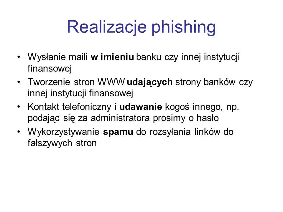 Realizacje phishing Wysłanie maili w imieniu banku czy innej instytucji finansowej.