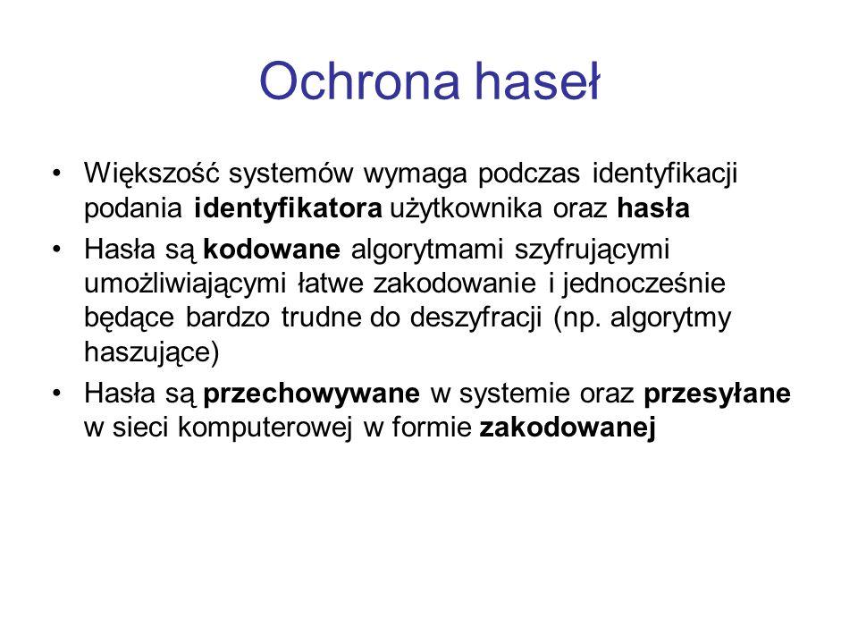 Ochrona haseł Większość systemów wymaga podczas identyfikacji podania identyfikatora użytkownika oraz hasła.