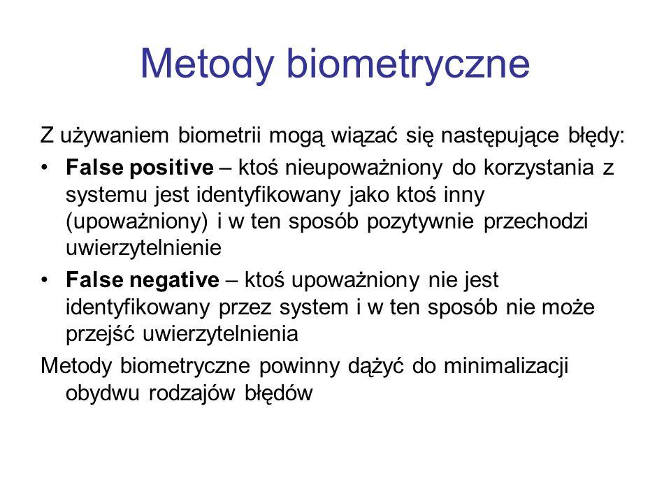Metody biometryczne Z używaniem biometrii mogą wiązać się następujące błędy: