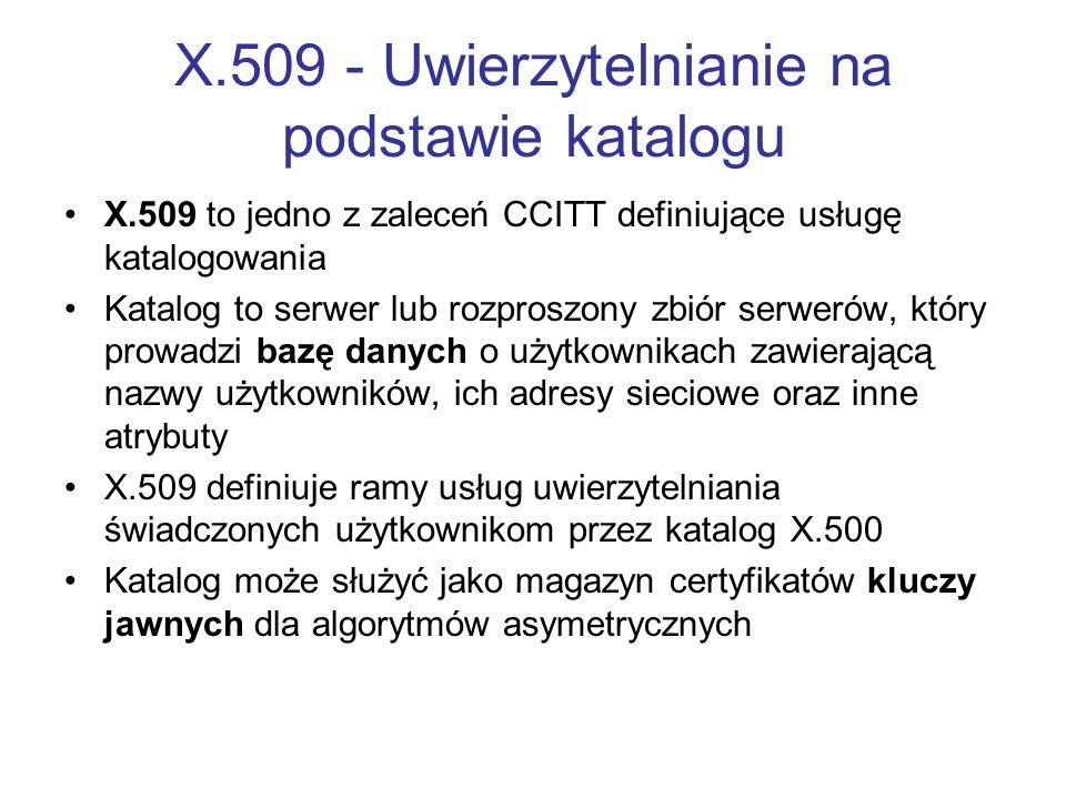 X.509 - Uwierzytelnianie na podstawie katalogu