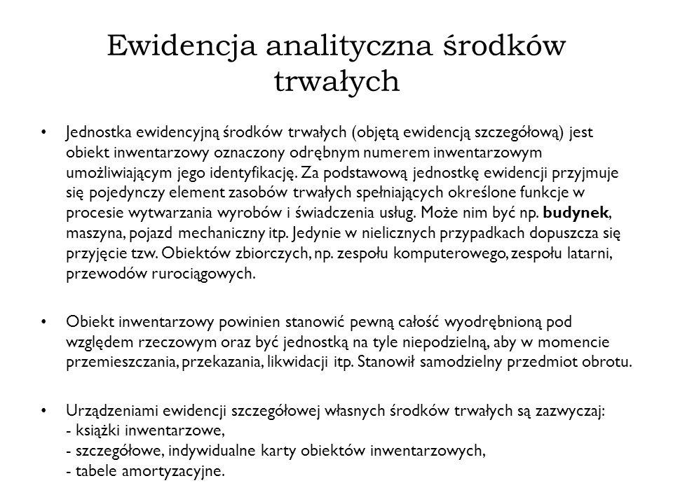 Ewidencja analityczna środków trwałych
