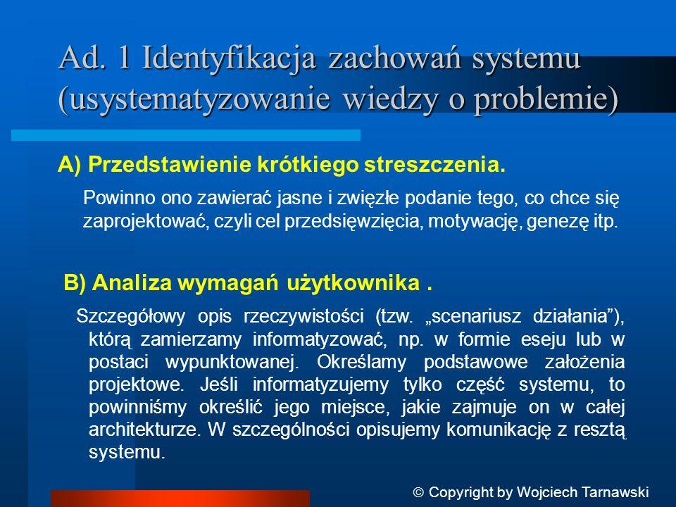 Ad. 1 Identyfikacja zachowań systemu (usystematyzowanie wiedzy o problemie)
