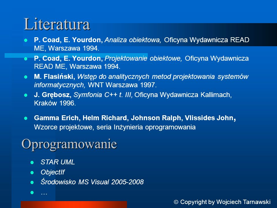 Literatura Oprogramowanie