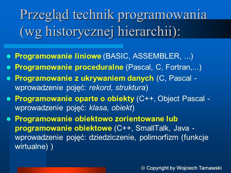Przegląd technik programowania (wg historycznej hierarchii):